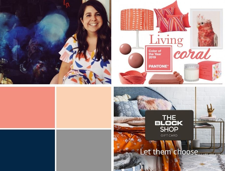 Pantone Classic Blue with Living Coral