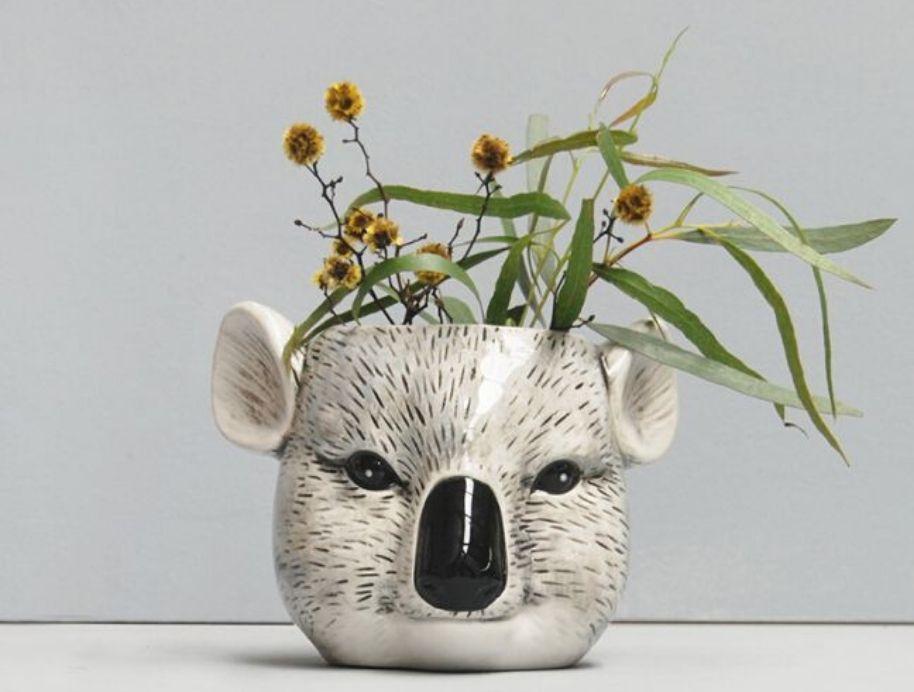 While Moose Koala Vase