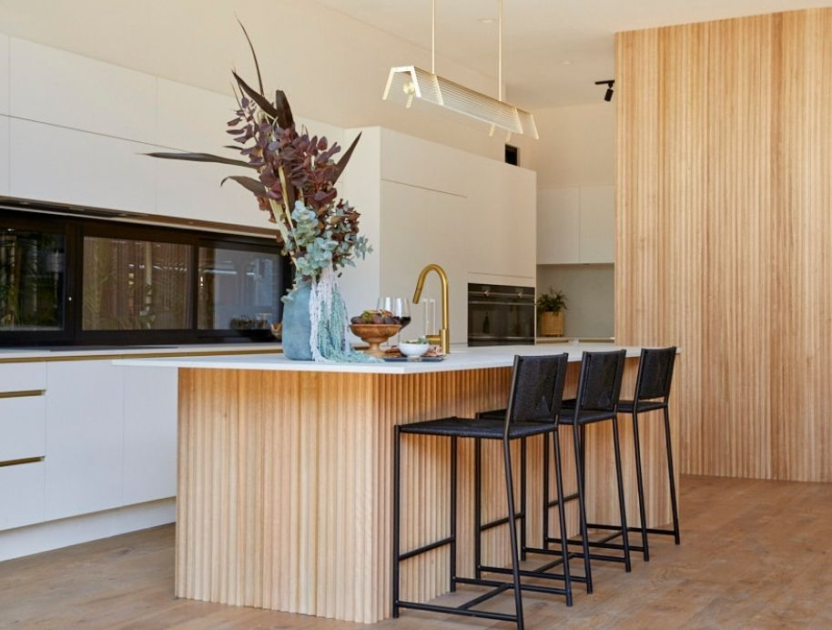 Kitchen with natural wood finishes - The Block