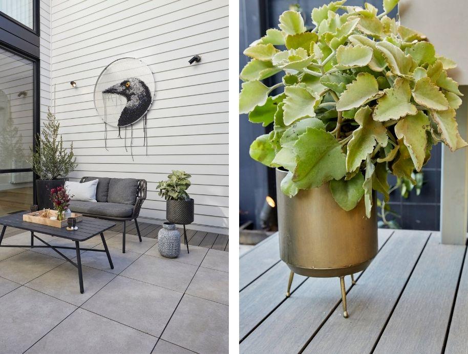 Brass planters in courtyard