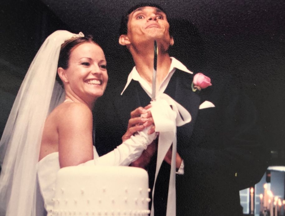 And and Deb The Block on their Wedding day