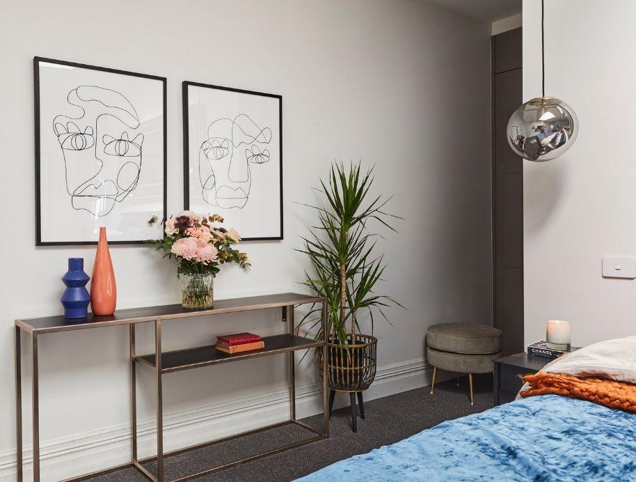 Jess Marney's artwork in Tess and Luke's Master Bedroom