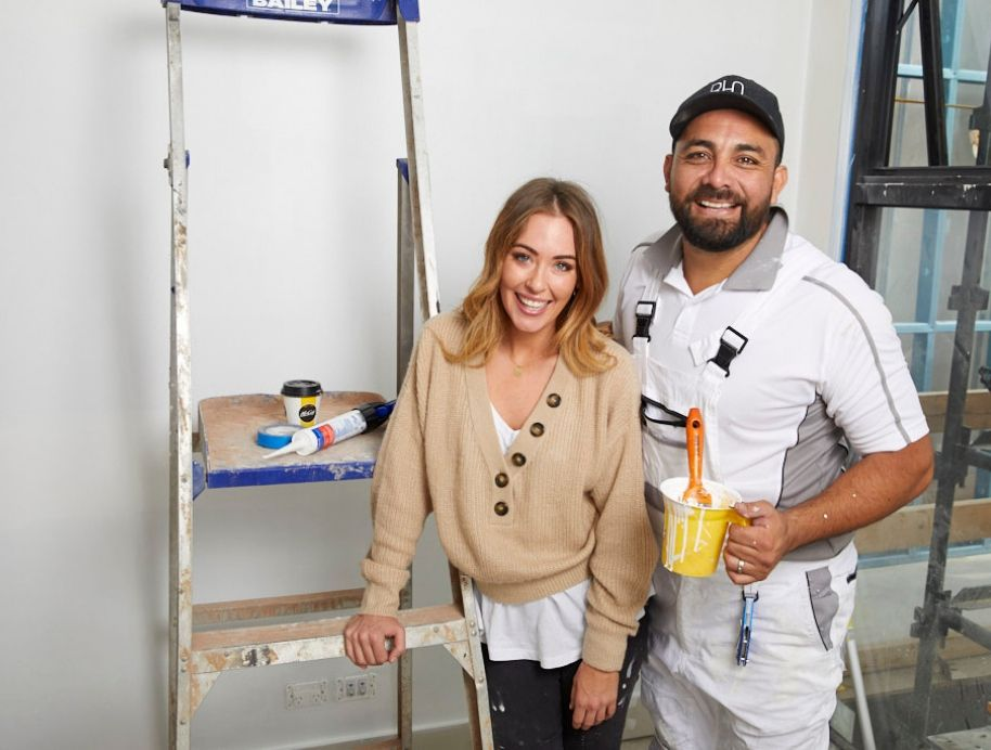 Ronnie and Georgia painting All Star week The Block