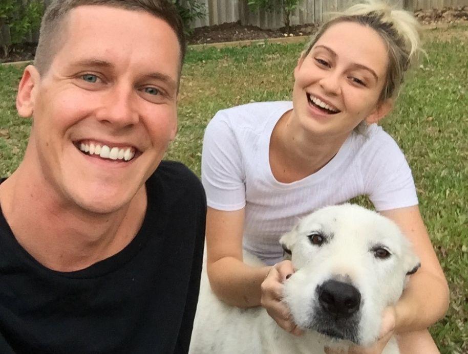 Tess and Luke wth Dog - The Block 2019