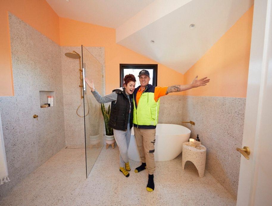 Jimmy and Tam peach bathroom on The Block