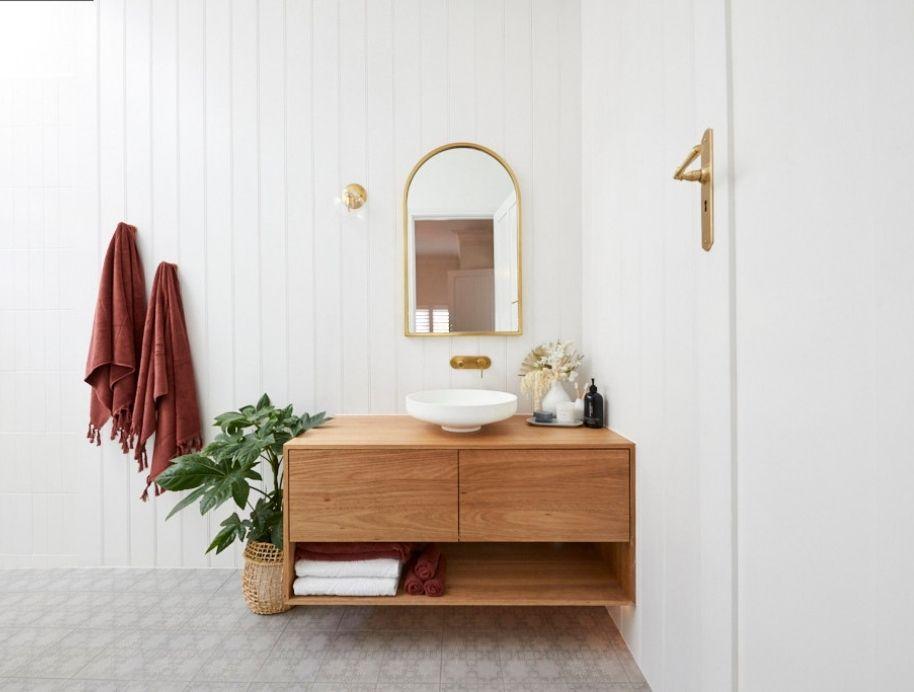vanity with shelf