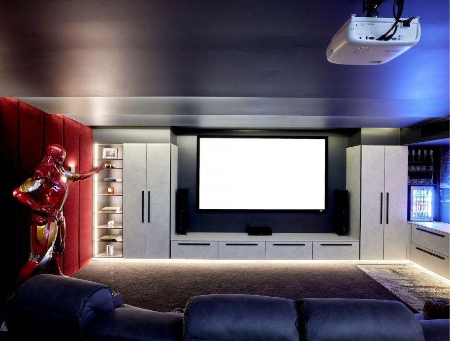 Home cinema storage on The Block Josh and Luke