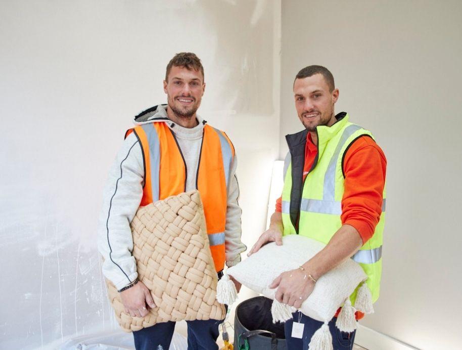 Josh and Luke working at The Block