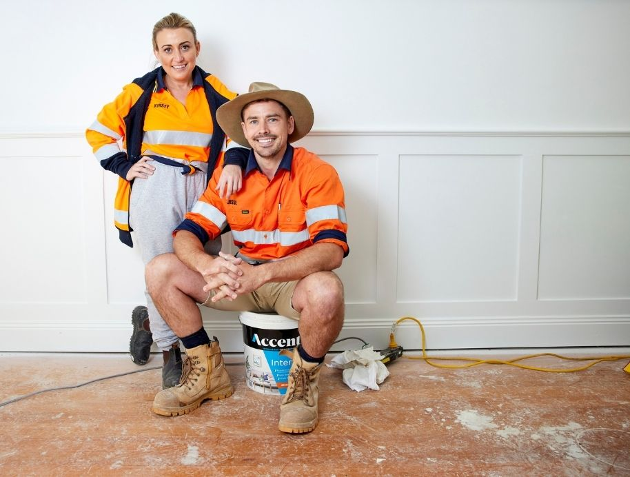 Kirsty and Jesse working at The Block