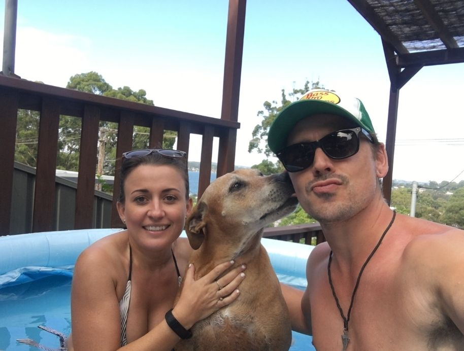 Kirsty and Jesse with their dog - The Block