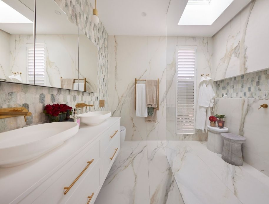 Mitch and Mark stylish marble bathroom on The Block