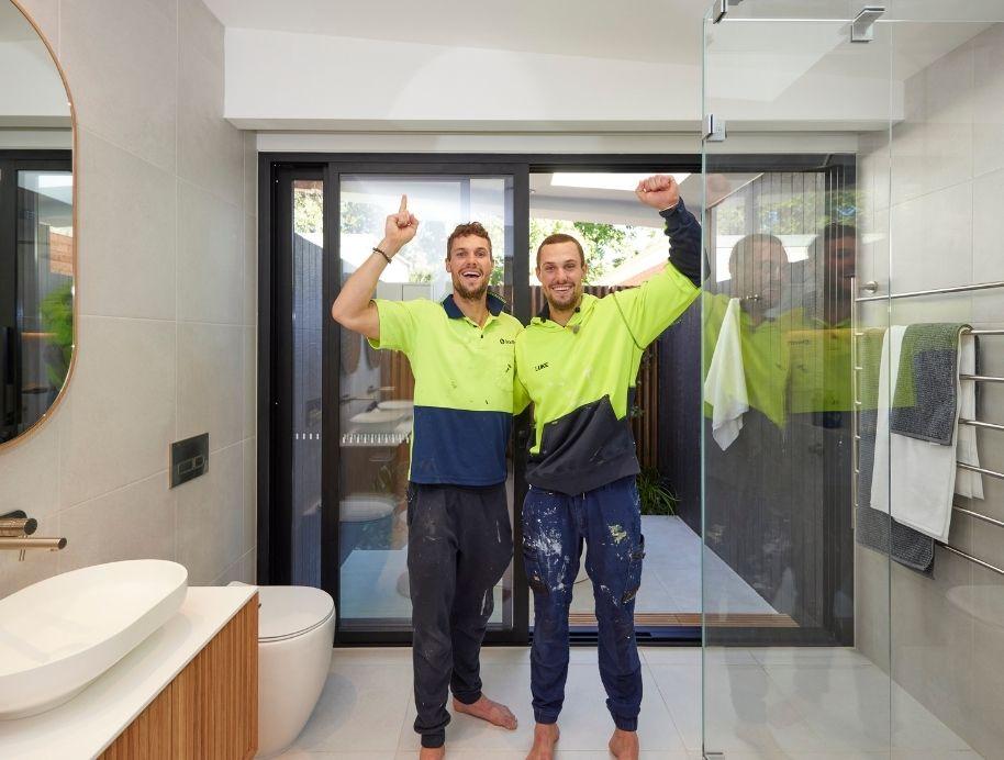 Josh and Luke's winning Block indoor outdoor bathroom