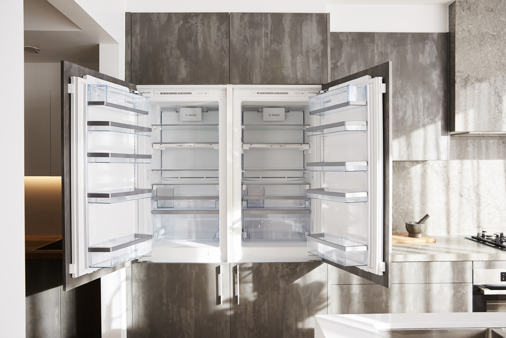 Sticks and Wombat chose two fully integrated fridges with bottom mounted freezers