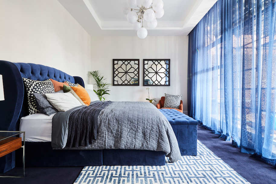 Mitch and Mark used navy sheers in their Master bedroom