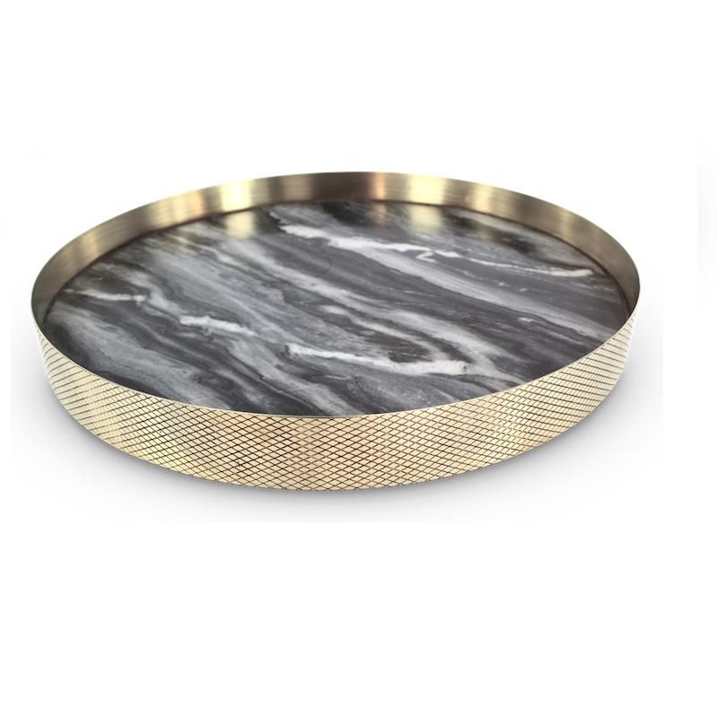 The Orbit Tray in Smokey Marble and Diamond Pattern Brass
