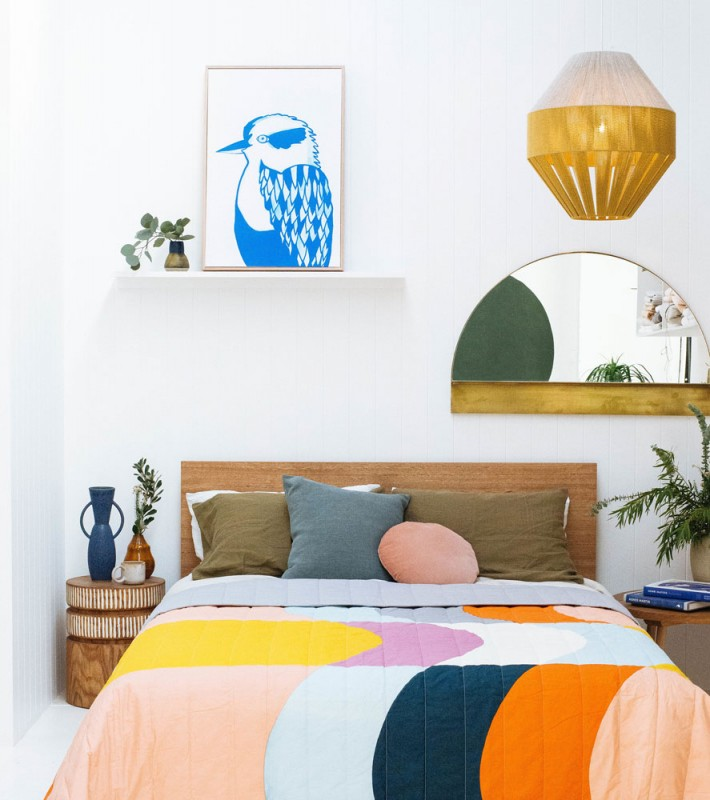 Madeleine Stamer Kookaburra art in a colourful bedroom