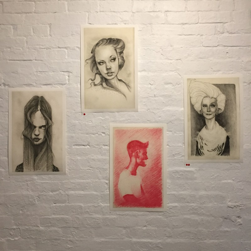 Pencil drawings at The Black Ocean exhibition