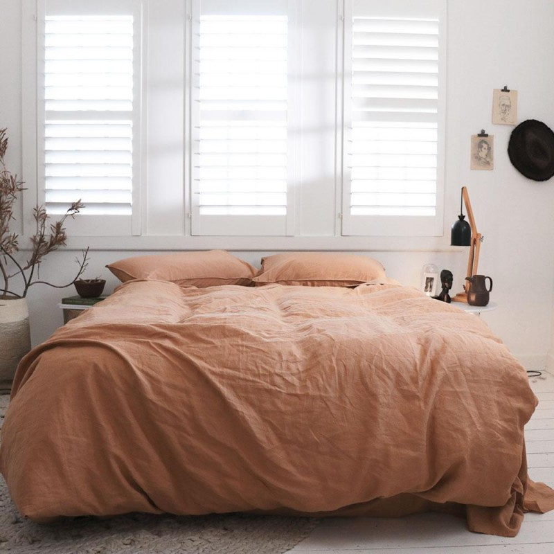 Terracotta bed linen from The Sheet Society at The Block Shop