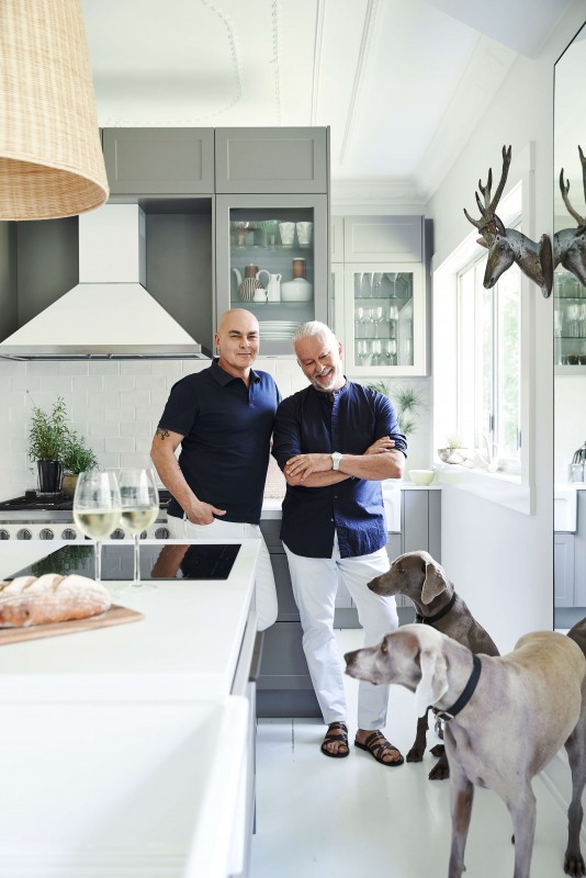 Neale Whitaker and partner David in their kitchen.