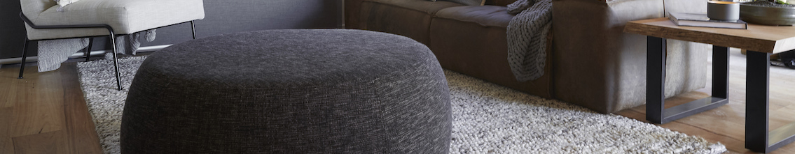 Round Grey White Pouffe
