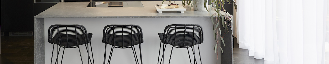 Metal, Timber, White / Black, Powder Blue High Bar Stools Stools
