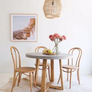 1.0m Elkstone Round Alta Dining Table   Speckled Grey & Light Honey Legs