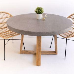 1.0m Round Alta ElkStone Dining Table | Speckled Grey & Light Honey Legs
