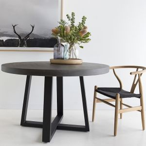 1.2m Elkstone Round Alta Dining Table | Ebony with Black Powder Coated Iron Legs | Pre order