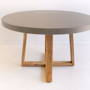 1.2m Round Alta ElkStone Dining Table | Grey & Light Honey