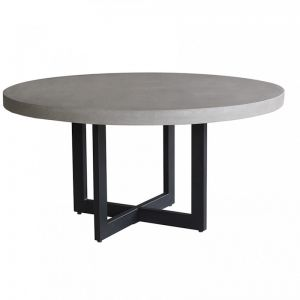 1.6m Axel Round Elkstone Table | Speckled Grey & Black