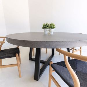 1.6m Elkstone Round Alta Dining Table | Speckled Grey with Black Powder Coated Iron Legs | Pre-order