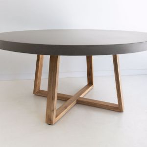 1.6m Round Alta ElkStone Dining Table | Grey & Light Honey