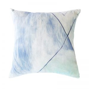100% Linen Pale Blue Geometric Cushion   Cover only