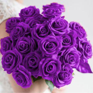10pcs Artificial Silk Rose Bouquet   Purple