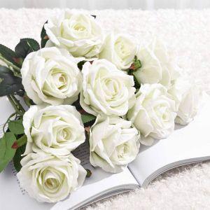 10pcs Artificial Silk Rose Bouquet | White