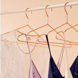 12 Pack Rose Gold Copper Hangers with Slip-Proof Notches
