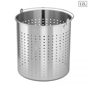 12L Stainless Steel Perforated Stockpot Basket Pasta Strainer
