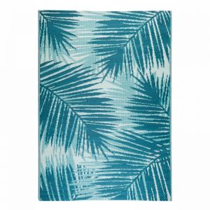 180x270 cm Recycled Plastic Outdoor Rug Waterproof Reversible Leafy Floral Botanica Blue