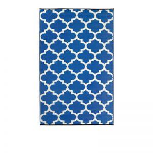 180x270 CM Recycled Plastic Outdoor Rug Waterproof Reversible Tangier Blue