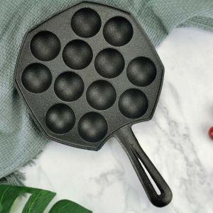 18CM Cast Iron Takoyaki Fry Pan Octopus Balls Maker 12 Hole Cavities Grill Mold