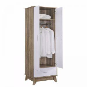 2 Door Wardrobe with Drawer   Oak