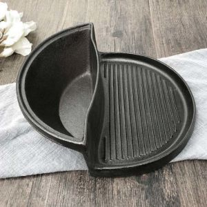 2 in 1 Cast Iron Ribbed Fry Pan Skillet Griddle BBQ and Steamboat Hot Pot