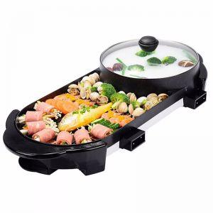 2 in 1 Electric Non-Stick BBQ Teppanyaki Grill Plate Steamboat Hotpot 2-8 Person