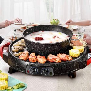 2 in 1 Electric Stone Coated Teppanyaki Grill Plate Steamboat Hotpot