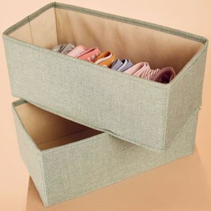 2 Pack Clothes Storage Boxes in Sage Green | Medium Size