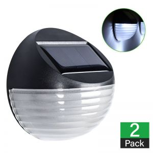 2 x Solar Powered Fence Lights - Round