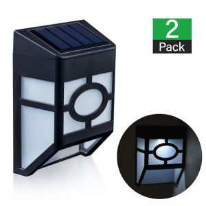 2 x Solar Powered Fence Lights - Square