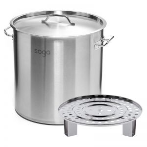 21L Stainless Steel Stock Pot with Steamer Rack Insert