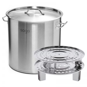 21L Stainless Steel Stock Pot with Two Steamer Rack Inserts
