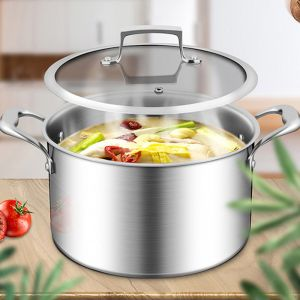 22cm Stainless Steel Soup Pot   Glass Lid